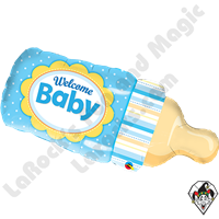 Qualatex 39 Inch Shape Welcome Baby Bottle Blue Foil Balloon