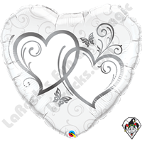 Qualatex 36 Inch Heart Entwined Hearts Silver Foil Balloon 1ct