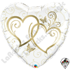 Qualatex 36 Inch Heart Entwined Hearts Gold Foil Balloon 1ct
