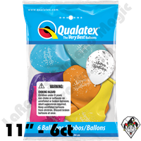 Qualatex Party Pack 11 Inch Round Assortment Birthday Shining Star 6ct