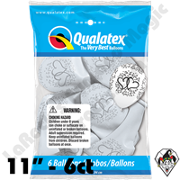Qualatex Party Pack 11 Inch Round Entwined Hearts White w/Silver Print  6ct