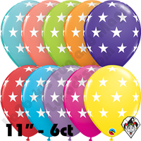 Qualatex Party Pack 11 Inch Round Assortment Big Stars Tropical 6ct