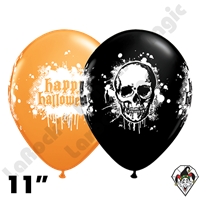 Qualatex 11 Inch Round Halloween Haunted Skull 50ct