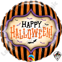 18 Inch Round Halloween Stripes Foil Balloon Qualatex 1ct