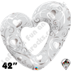 Qualatex 42 Inch Shape Hearts & Filigree Pearl White Foil Balloon 1ct