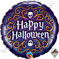 Qualatex 18 Inch Round Halloween Skeleton Filigree Foil Balloon 1ct