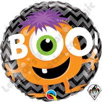 18 Inch Round Boo! Monster Chevron Foil Balloon Qualatex 1ct