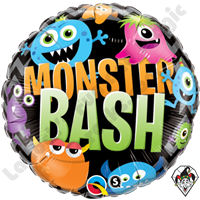 18 Inch Round Monster Bash Chevron Foil Balloon Qualatex 1ct.