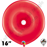 16 Inch Geo Donut Standard Red Balloon Qualatex 25ct