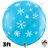 Qualatex 3 Foot Round Snowflake & Sparkles-A-Round Robins Egg Blue Balloons 2ct