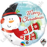 18 Inch Round Merry Christmas Snowman Foil Balloon Qualatex 1ct