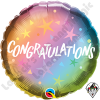 18 Inch Round Congratulations Ombre & Stars Foil Balloon Qualatex 1ct