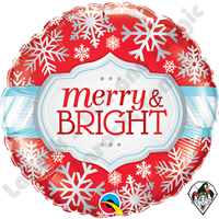 18 Inch Round Merry & Bright Snowflakes Foil Balloon Qualatex 1ct