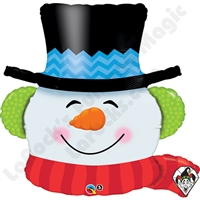 Qualatex 32 Inch Shape Smilin Snowman Foil Balloon 1ct