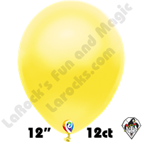 12 Inch Round Pearl Yellow Balloon Funsational 12ct