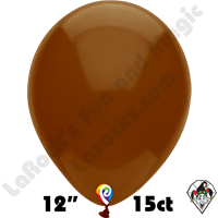 12 Inch Round Standard Cocoa Brown Balloon Funsational 15ct