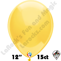12 Inch Round Crystal Yellow Balloon Funsational 15ct