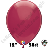 12 Inch Round Crystal Burgundy Balloon Funsational 50ct