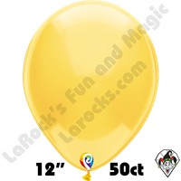 12 Inch Round Crystal Yellow Balloon Funsational 50ct