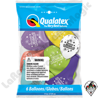 Qualatex Party Pack 11 Inch Round Assortment Retirement Starbursts 6ct