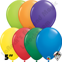 5 Inch Round Assortment Carnival Balloons Qualatex 100ct