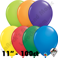 11 Inch Round Assortment Carnival Qualatex 100ct