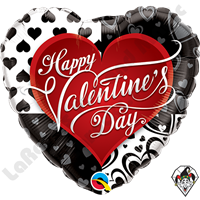 18 Inch Heart Valentine's Black Hearts Foil Balloon Qualatex 1ct