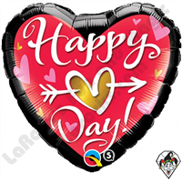 18 Inch Heart Happy (Heart) Day! Foil Balloon Qualatex 1ct