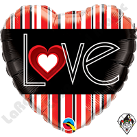 18 Inch Heart L(Heart)VE Red Stripes Foil Balloon Qualatex 1ct
