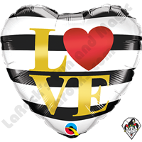 18 Inch Heart L(Heart)VE Horizontal Stripes Foil Balloon Qualatex 1ct