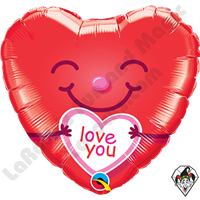 18 Inch Heart Love You Smiley Heart Foil Balloon Qualatex 1ct