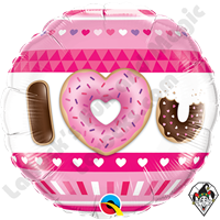 18 Inch Round I (Heart) U Donuts Foil Balloon Qualatex 1ct