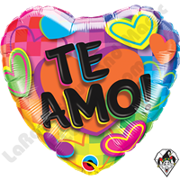 18 Inch Heart Te Amo! Fun Hearts Foil Balloon Qualatex 1ct