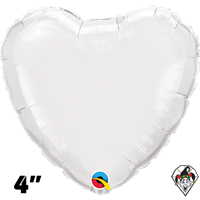 Qualatex 4 Inch Heart White Foil Balloon 1ct