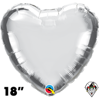18 Inch Heart Silver Foil Balloon Qualatex 1ct