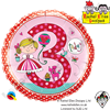 Qualatex 18 Inch Round Rachel Ellen - Age 3 Princess Polka Dots Foil Balloon 1ct