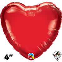 4 Inch Heart Ruby Red Foil Balloon Qualatex 1ct