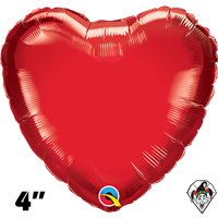 Qualatex 4 Inch Heart Ruby Red Foil Balloon 1ct