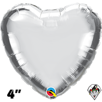 4 Inch Heart Silver Foil Balloon Qualatex 1ct