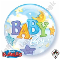 22 Inch Baby Boy Moons & Stars Bubble Qualatex