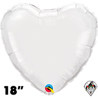 18 Inch Heart White Foil Balloon Qualatex 1ct