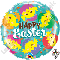 Qualatex 18 Inch Round Happy Easter Hatched Chick Foil Balloon 1ct