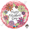 18 Inch Round Mother's Day Floral Chevron Foil Qualatex Balloon 1ct