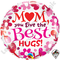 Qualatex 18 Inch Round Mom Best Hugs Foil Balloon 1ct