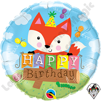 Qualatex 18 Inch Round Birthday Party Fox Foil Balloon 1ct