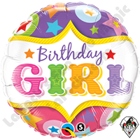 Qualatex 18 Inch Round Birthday Girl Circus Foil Balloon 1ct