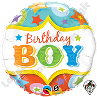 Qualatex 18 Inch Round Birthday Boy Circus Foil Balloon 1ct