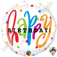 Qualatex 18 Inch Round Happy Birthday Dots Foil Balloon 1ct