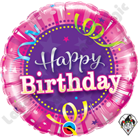 Qualatex 18 Inch Round Birthday Hot Pink Foil Balloon