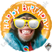 Qualatex 18 Inch Round Smilin Chimp Foil Balloon 1ct